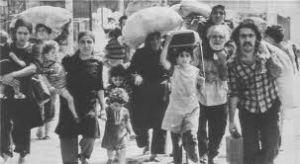 profughi da Tel Al Zaatar, nuovamente cacciati e verso un futuro di miseria.